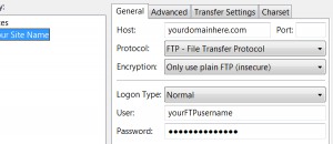 filezilla ftp config